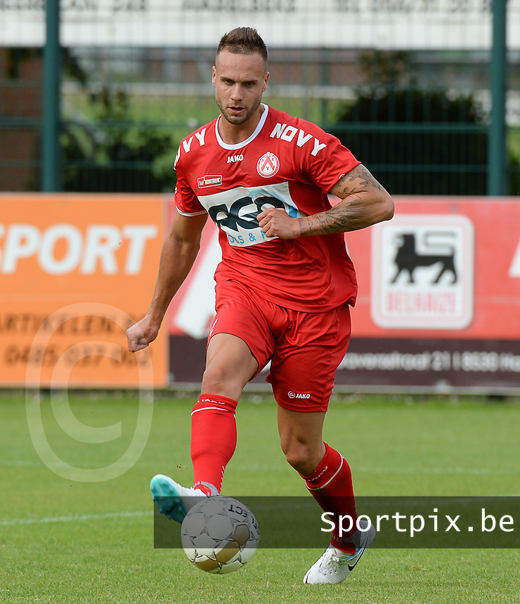 20140704 - Harelbeke , BELGIUM : Kortrijk's Maxime Chanot pictured during a friendly match between Luxemburg first division team  F91 Dudelange  and Belgian first division soccer team KV Kortrijk, the fifth match for Kortrijk of the preparations for the 2014-2015 season, Friday 4 July 2014 in Harelbeke. PHOTO DAVID CATRY