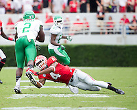 The Georgia Bulldogs played North Texas Mean Green at Sanford Stadium.  After North Texas tied the game at 21 early in the second half, the Georgia Bulldogs went on to score 24 unanswered points to win 45-21.  Georgia Bulldogs cornerback Brendan Langley (4), North Texas Mean Green running back Reggie Pegram (2)