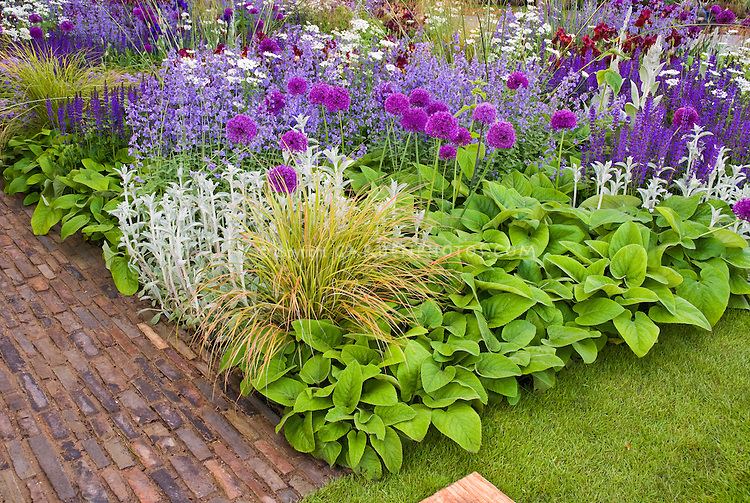Beautiful flower bed border garden with mixed bulbs for Planting schemes with grasses