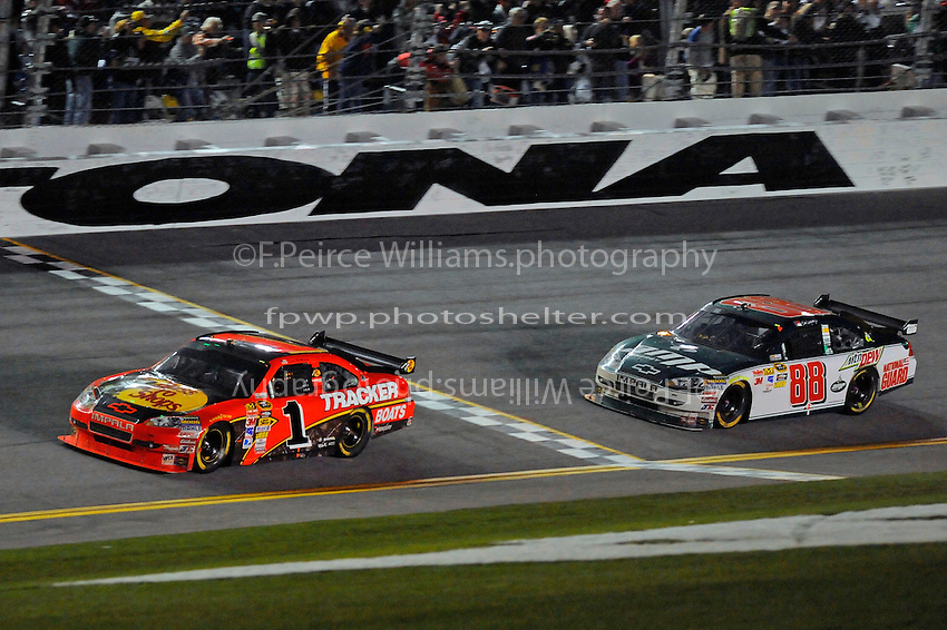 14 February, 2010, Daytona Beach, Florida USA USA.Jamie McMurray (#1) crosses the finishline ahead of Dale Earnhardt,Jr. (#88) to win..©F. Peirce Williams 2010 USA.