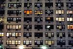 Gloomy apartment building at night. Manhattan, New York City.