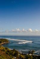 Line up of waves breaking into St Leu, Reunion Island. Photo: Joli