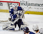 10 February 2017: University of New Hampshire Wildcat Goaltender DannyTirone, a Junior from Trumbull, CT, makes a third period save against the University of Vermont Catamounts at Gutterson Fieldhouse in Burlington, Vermont. The Wildcats came from behind to defeat the Catamounts 4-2 in the first game of their 2-game Hockey East Series. Mandatory Credit: Ed Wolfstein Photo *** RAW (NEF) Image File Available ***