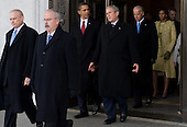 Washington, DC - January 20, 2009 -- Former United States President George W. Bush walks to a waiting helicopter alongside US President Barack Obama, US Vice President Joe Biden and First Lady Michelle Obama,after Obama was sworn in as the 44th US president at the US Capitol in Washington, DC, on January 20, 2009. .Credit: Saul Loeb - Pool via CNP