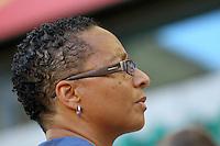 Wolfsburg , 270611 , FIFA / Frauen Weltmeisterschaft 2011 / Womens Worldcup 2011 , Gruppe B  ,  .England - Mexico .Trainerin Hope Powell (England) .Foto:Karina Hessland .