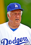 12 March 2008: Los Angeles Dodgers' interim manager Tommy Lasorda takes to the field at a Spring Training game between the Washington Nationals and the LA Dodgers at Holman Stadium, in Vero Beach, Florida. Lasorda is replacing manager Joe Torre who is traveling to China with a group of Dodger players for an exhibition series of games. The Nationals defeated the Dodgers 10-4 at the historic Dodgertown ballpark. 2008 marks the final season of Spring Training at Dodgertown for the Dodgers, as the team will move to new training facilities in Arizona starting in 2009 after 60 years in Florida...Mandatory Photo Credit: Ed Wolfstein Photo