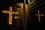 Illuminated Cross on building, Amsterdam