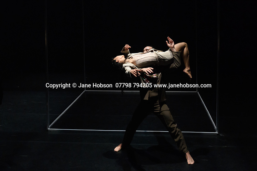 London, UK. 15.03.2017. James Cousins Company presents the London premiere of ROSALIND, at The Place, from 15 to 18 March. the dancers are: Chihiro Kawasaki, Georges Hann, Heejung Kim, Inho Cho. Lighting design is by Lee Curran, costume design by Insook Choi. Photograph © Jane Hobson.