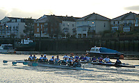 Putney, London.  Pre Varsity Boat race fixture. Blades clash, as Cambridge start to overtake GBR U23, in the second Trial, Cambridge UBC.[Blue Boat] vs GBR U23 crew raced over parts of the Championship Course, [Putney to Mortlake].  Race divided into two trials. 1. Start to Hammersmith Pier. 2. Chiswick Eyot to Finish. River Thames. Saturday   26/02/2011 [Mandatory Credit -Karon Phillips/Intersport Images]..Crews:.CAMBRIDGE [Blue Boat] Bow,  Mike THORP, Joel JENNINGS,  Dan RIX-STANDING,  Hardy CUBASCH,  George NASH,  Geoff ROTH , Derek RASMUSSEN, Stroke David NELSON and Cox Tom FIELDMAN..GB Under-23s Bow, Oliver STAITE, Jack CADMAN,  Alex TORBICA, Alex DAVIDSON, Matt TARRANT, Ertan HAZINE,  Mason DURANT,  Stroke Scott DURANT and Cox Max GANDER ...