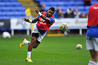 Niko Matawalu of Bath Rugby passes the ball during the pre-match warm-up. Aviva Premiership match, between London Irish and Bath Rugby on November 7, 2015 at the Madejski Stadium in Reading, England. Photo by: Patrick Khachfe / Onside Images