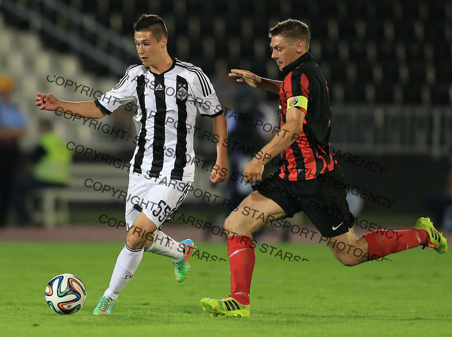 Fudbal Football Soccer<br /> UEFA Champions league-2nd qualifying round<br /> Partizan v HB Torshavn (Faroe Islands)<br /> Danilo Pantic (L) and Frodi Benjaminsen<br /> Beograd, 07.15.2014.<br /> foto: Srdjan Stevanovic/Starsportphoto &copy;
