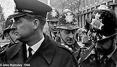 Police officers were pelted with flour bombs in Grosvenor Square, anti-Vietnam war demonstration march from Trafalgar Sq to Grosvenor Sq Sunday 17th March 1968.