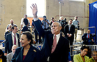 Former United States Secretary of State Colin L. Powell and his wife, Alma, attend an event at Benjamin Banneker Academic High School to highlight the progress that has been made by the Obama Administration over the last eight years to improve education across the country on October 17, 2016 in Washington, DC. <br /> Credit: Olivier Douliery / Pool via CNP /MediaPunch