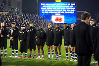 A general view of the pre-match ceremony to mark Remembrance Day weekend. Anglo-Welsh Cup match, between Bath Rugby and Leicester Tigers on November 4, 2016 at the Recreation Ground in Bath, England. Photo by: Patrick Khachfe / Onside Images