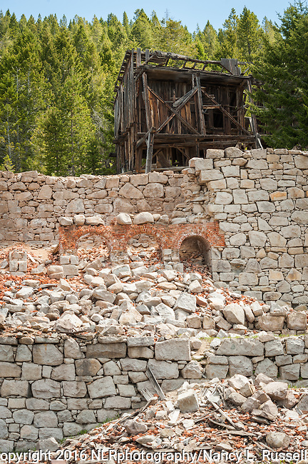 Brick and stone used to make the wall and buildings of the Mill A & Mill B for the Ruby shaft mine in Granite, MT.