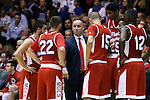 30 October 2015: Florida Southern head coach Michael Donnelly takes to his players during a timeout. The Duke University Blue Devils hosted the Florida Southern College Moccasins at Cameron Indoor Stadium in Durham, North Carolina in a 2015-16 NCAA Men's Basketball Exhibition game. Duke won the game 112-68.