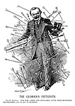 """The Glorious Fifteenth. Our St. Sebastian. """"And now, Ladies and Gentlemen, after these refreshing preliminaries, let us get to business."""" (Lloyd George presents his National Insurance Act while being shot with arrows)"""