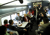 Baltimore, MD - January 17, 2009 -- United States Vice President-elect Joe Biden and President-elect Barack Obama talk to train passengers on the Whistle Stop Train Tour outside of Baltimore, Maryland on Saturday, January 17, 2009. The ceremonial trip will carry President-elect Obama, Vice President-elect Biden and their families to Washington for their inaugurations with additional events in Philadelphia, Wilmington and Baltimore. Obama will be sworn in as the 44th President of the United States on January 20, 2009..Credit: Kevin Dietsch - Pool via CNP