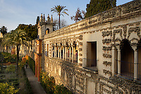 High angle view of wall, Gardens, Real Alcazar, Seville, Spain, pictured on December 26, 2006, in the afternoon. The Real Alacazar was commissioned by Pedro I of Castile in 1364 to be built in the Mudejar style by Moorish craftsmen. The palace, built on the site of an earlier Moorish palace, is a stunning example of the style and a UNESCO World Heritage site. The gardens are a mixture of French, Moorish and Renaissance styles. Picture by Manuel Cohen.