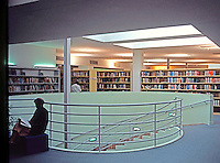 Frank Gehry: Hollywood Library, 1986. Spiral stairwell.  Photo '86.