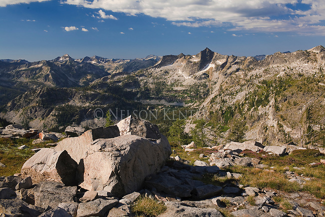 The rocky peaks in the Bitterroot Mountains on the ascent to El Capitan