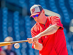 22 August 2015: Washington Nationals Manager Matt Williams taps out grounders during batting practice prior to a game against the Milwaukee Brewers at Nationals Park in Washington, DC. The Nationals defeated the Brewers 6-1 in the second game of their 3-game weekend series. Mandatory Credit: Ed Wolfstein Photo *** RAW (NEF) Image File Available ***