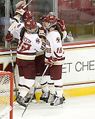 Mary Restuccia (BC - 22) and Ashley Motherwell (BC - 18) celebrate Restuccia's goal. - The Boston College Eagles defeated the visiting Harvard University Crimson 6-2 on Sunday, December 5, 2010, at Conte Forum in Chestnut Hill, Massachusetts.