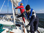 Captain of the Obtuse Chris Charbonneau gets a hand from Stiv Wilson of 5 Gyres as they set sail to collect water and sediment samples from Chesapeake Bay. <br /> Executive director of Trash Free Maryland, Julie Lawson, organized a 4 day expedition of Chesapeake Bay. Lawson brought together plastic pollution experts, educators, policy advocates, environmentalists and journalists to collect water and sediment samples and study the Chesapeake Bay waterway. <br /> <br /> <br /> PHOTOS/John Nelson