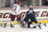 Patrick Brown (BC - 23), Isaac MacLeod (BC - 7), Matt Willows (UNH - 9) - The Boston College Eagles and University of New Hampshire Wildcats tied 4-4 on Sunday, February 17, 2013, at Kelley Rink in Conte Forum in Chestnut Hill, Massachusetts.