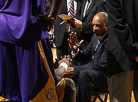 Jan. 2, 2011; Charlottesville, VA, USA; LSU Tigers head coach Trent Johnson talk with his players during the game against the Virginia Cavaliers at the John Paul Jones Arena. Virginia won 64-50. Mandatory Credit: Andrew Shurtleff-