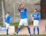 St Johnstone v Dundee United...19.04.14    SPFL<br /> Stevie May applauds the fans as he is subbed<br /> Picture by Graeme Hart.<br /> Copyright Perthshire Picture Agency<br /> Tel: 01738 623350  Mobile: 07990 594431