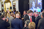 Garden City, New York, USA. 3rd November 2015. Democrats watch election results on Channel 12 News, at the Election Night Party of the Nassau County Democrats, at the Garden City Hotel.