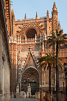 General view of the Puerta de San Cristobal and Moorish entrance court, Seville Cathedral, Andalucia, Spain, pictured on December 26, 2006 in the winter morning light. Seville Cathedral is the largest Gothic building in the world. It was converted from the original 12th century Almohad Mosque on this site during the 16th century and the original Moorish entrance court and Giralda Minaret are both integrated in the cathedral. Inside is the tomb of the explorer Christopher Columbus (1451-1506). Picture by Manuel Cohen