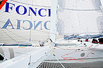 With Alain Gautier on board Sensation Ocean, The Sensation Ocean trimaran is one of the latest ORMA 60' ( Ex: Foncia ) trimarans to offer this service as an almost brand new racing multihull. She belongs to the very exclusive racing yacht group, being able to reach speeds exceeding 40 knots, Lorient, Brittany, France.