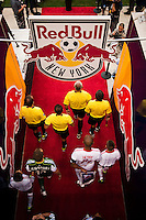 The New York Red Bulls and Portland Timbers enter the field. The New York Red Bulls  defeated the Portland Timbers 3-2 during a Major League Soccer (MLS) match at Red Bull Arena in Harrison, NJ, on August 19, 2012.