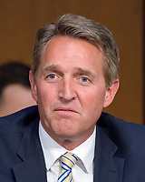 United States Senator Jeff Flake (Republican of Arizona) questions Judge Neil Gorsuch as he testifies before the United States Senate Judiciary Committee on his nomination as Associate Justice of the US Supreme Court to replace the late Justice Antonin Scalia on Capitol Hill in Washington, DC on Wednesday, March 22, 2017.<br /> Credit: Ron Sachs / CNP /MediaPunch