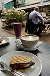 Panini and coffee at an outdoor cafe, Christchurch, New Zealand