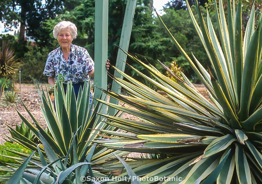 Ruth Bancroft in her succulent garden 1992