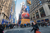 Visitors on opening day of Super Bowl Boulevard in Midtown Manhattan in New York on Wednesday, January 29, 2014. Despite the game being held in New Jersey on February 2 sports fans are expected to pack New York to take part in the multitude of activities planned around the game including the 13 block stretch of Broadway, running from 34th street through 47th street that will host Super Bowl Blvd. from January 29 to February 1. (© Richard B. Levine)