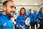 Spartak Trnava v St Johnstone...06.08.14  Europa League Qualifier 3rd Round<br /> Stevie May arrives at Edinburgh Airport to check in for the flight to Bratislava.<br /> Picture by Graeme Hart.<br /> Copyright Perthshire Picture Agency<br /> Tel: 01738 623350  Mobile: 07990 594431