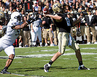October 03, 2008: Penn State defensive end Aaron Maybin (59) pressures Purdue quarterback Curtis Painter. The Penn State Nittany Lions defeated the Purdue Boilermakers 20-06 on October 03, 2008 at Ross-Ade Stadium, West Lafayette, Indiana.