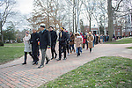 Participants of the Martin Luther King Jr. Silent March make their way across College Green on January 18, 2016.