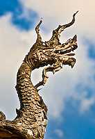Intricately carved dragon guarding the entrance to a temple. (Photo by Matt Considine - Images of Asia Collection)
