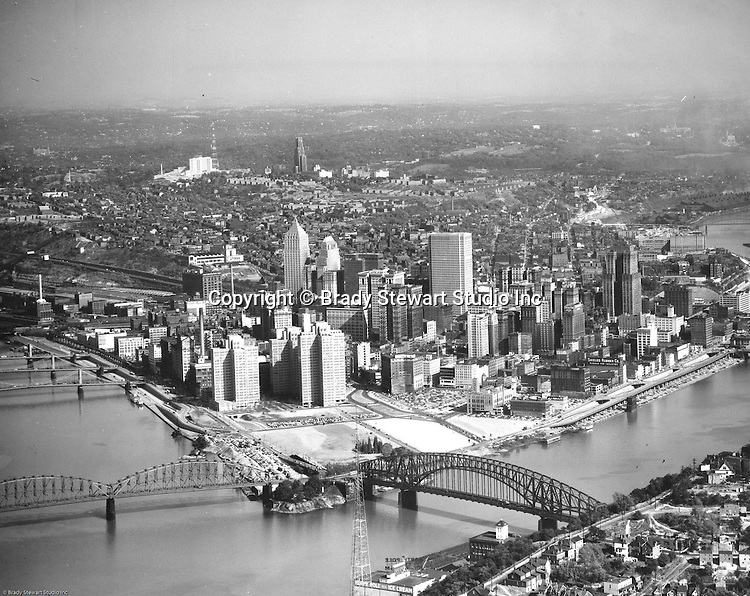Pittsburgh PA:  Aerial view of Pittsburgh's skyline after Gateway Center building 1,2 & 3 were completed - 1954