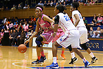04 February 2016: Virginia's Mone Jones (32) and Duke's Oderah Chidom (22). The Duke University Blue Devils hosted the University of Virginia Cavaliers at Cameron Indoor Stadium in Durham, North Carolina in a 2015-16 NCAA Division I Women's Basketball game. Both teams wore pink as part of the annual Play4Kay game in support of the Kay Yow Cancer Fund. Duke won the game 67-52.