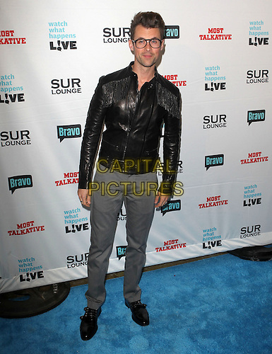 "Brad Goreski.Bravo's Andy Cohen's Book Release Party For ""Most Talkative: Stories From The Front Lines Of Pop Held at SUR Lounge, West Hollywood, California, USA..May 14th, 2012.full length grey gray trousers black leather jacket glasses .CAP/ADM/KB.©Kevan Brooks/AdMedia/Capital Pictures."