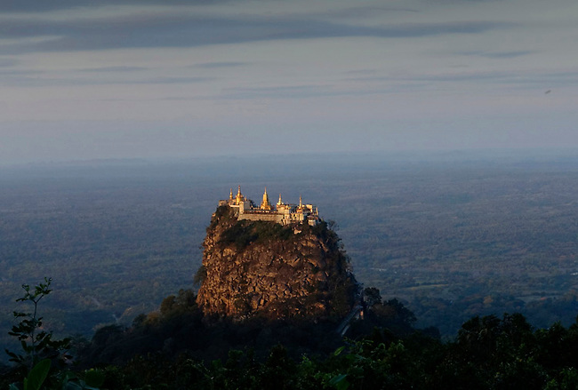 Popa Taungkalat monastery seen from Mt Popa resort