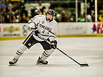 17 October 2015: University of Nebraska Omaha Maverick Defenseman Luc Snuggerud, a Sophomore from Eden Prairie, MN, in first period action against the University of Vermont Catamounts at Gutterson Fieldhouse in Burlington, Vermont. The Mavericks defeated the Catamounts 3-1 in the second game of their weekend series. Mandatory Credit: Ed Wolfstein Photo *** RAW (NEF) Image File Available ***