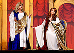 "MERRICK, NY - February 21: Duelling Divas stars, sopranos Birgit Firavante and Wendy Reynolds - wearing Roman cloaks and singing ?Mira, O Norma? and ?Casta Diva? from Bellini's ""Norma"" - in comic opera concert presented by Merrick Bellmore Community Concert Association on February 21, 2010 at Merrick, NY."