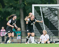 Newton, Massachusetts - September 13, 2015: NCAA Division I. In second overtime, Providence College (black) defeated Boston College (white), 3-2, at Newton Campus Soccer Field.<br /> Celebrate overtime win.